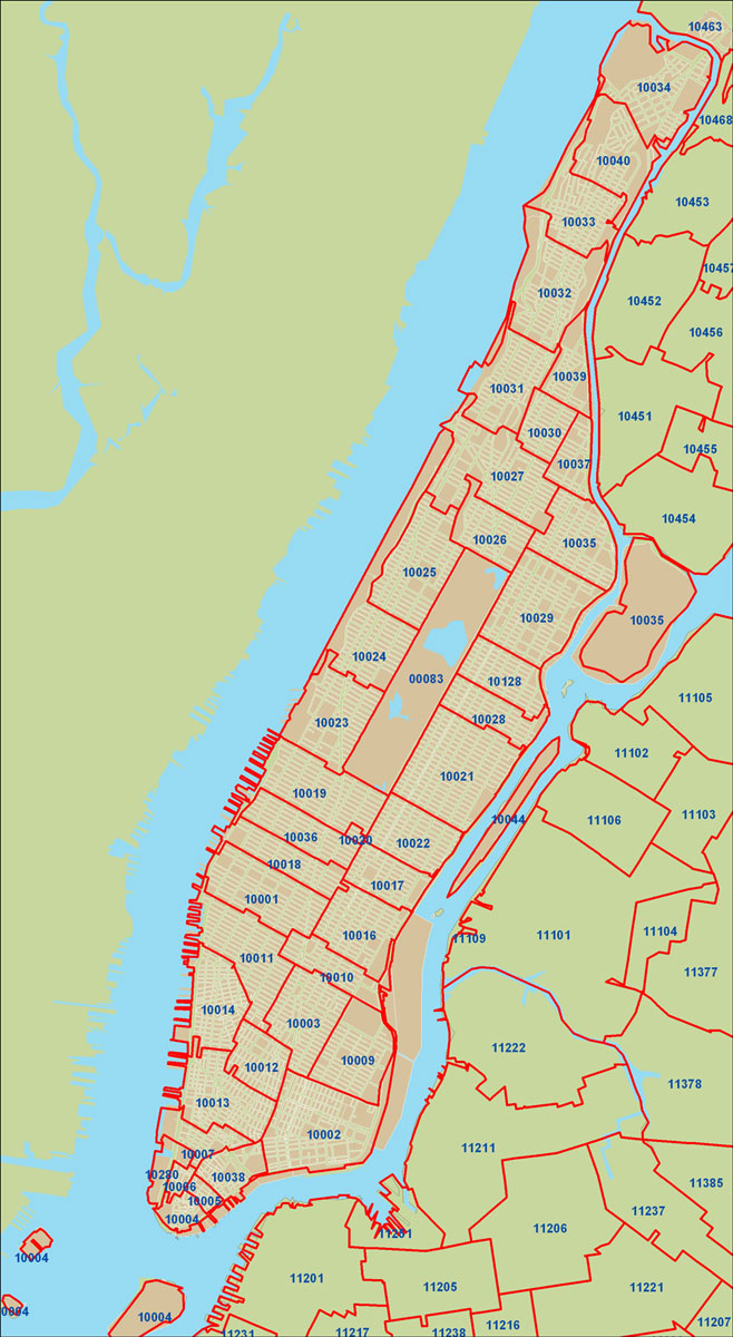 Manhattan Zip Code Map • Mapsof.net