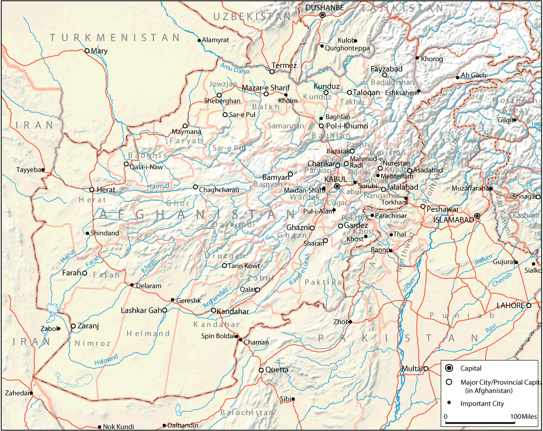 Map Of Afghanistan And Its Neighbors large map
