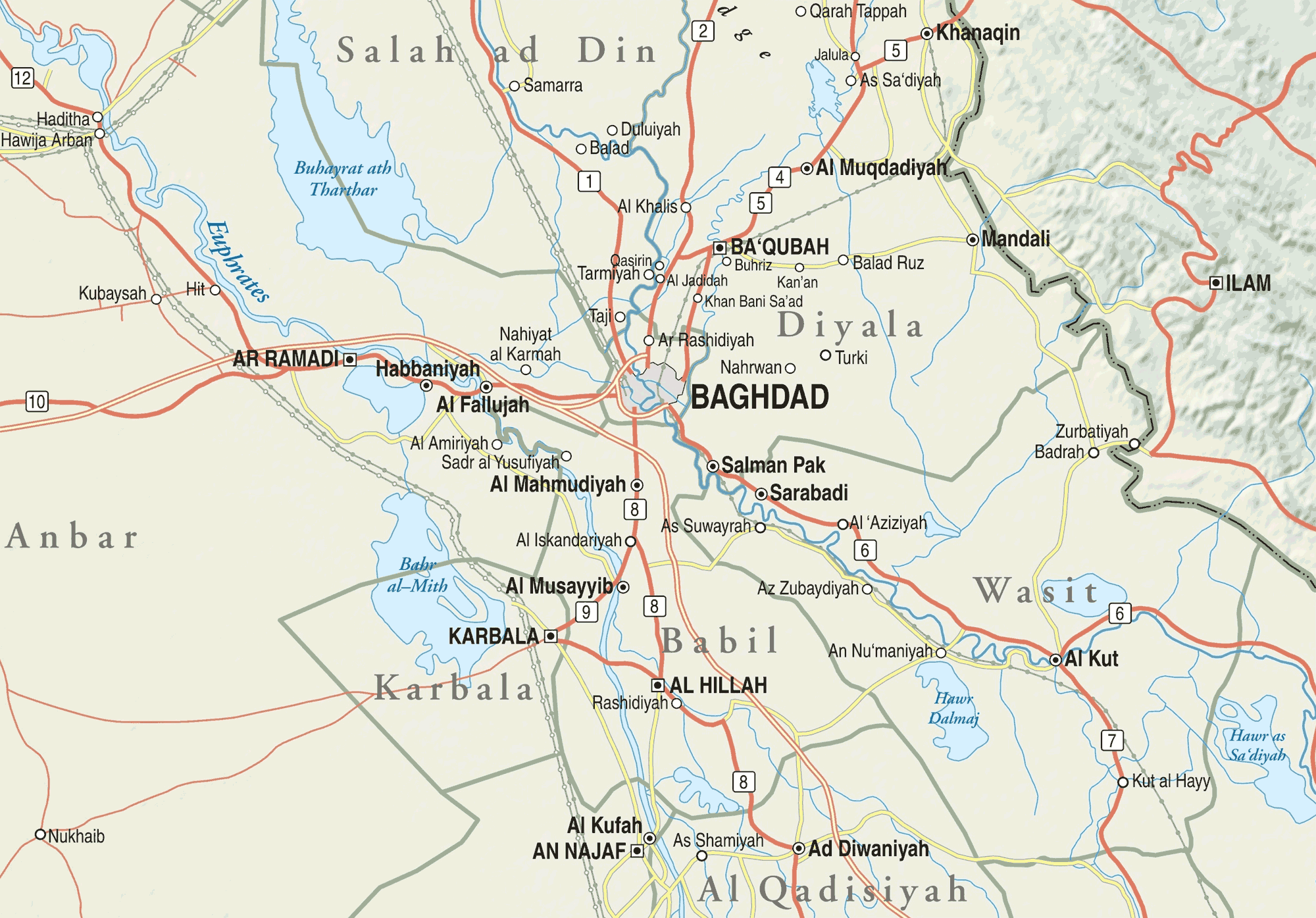 Map Of Central Iraq Mapsofnet