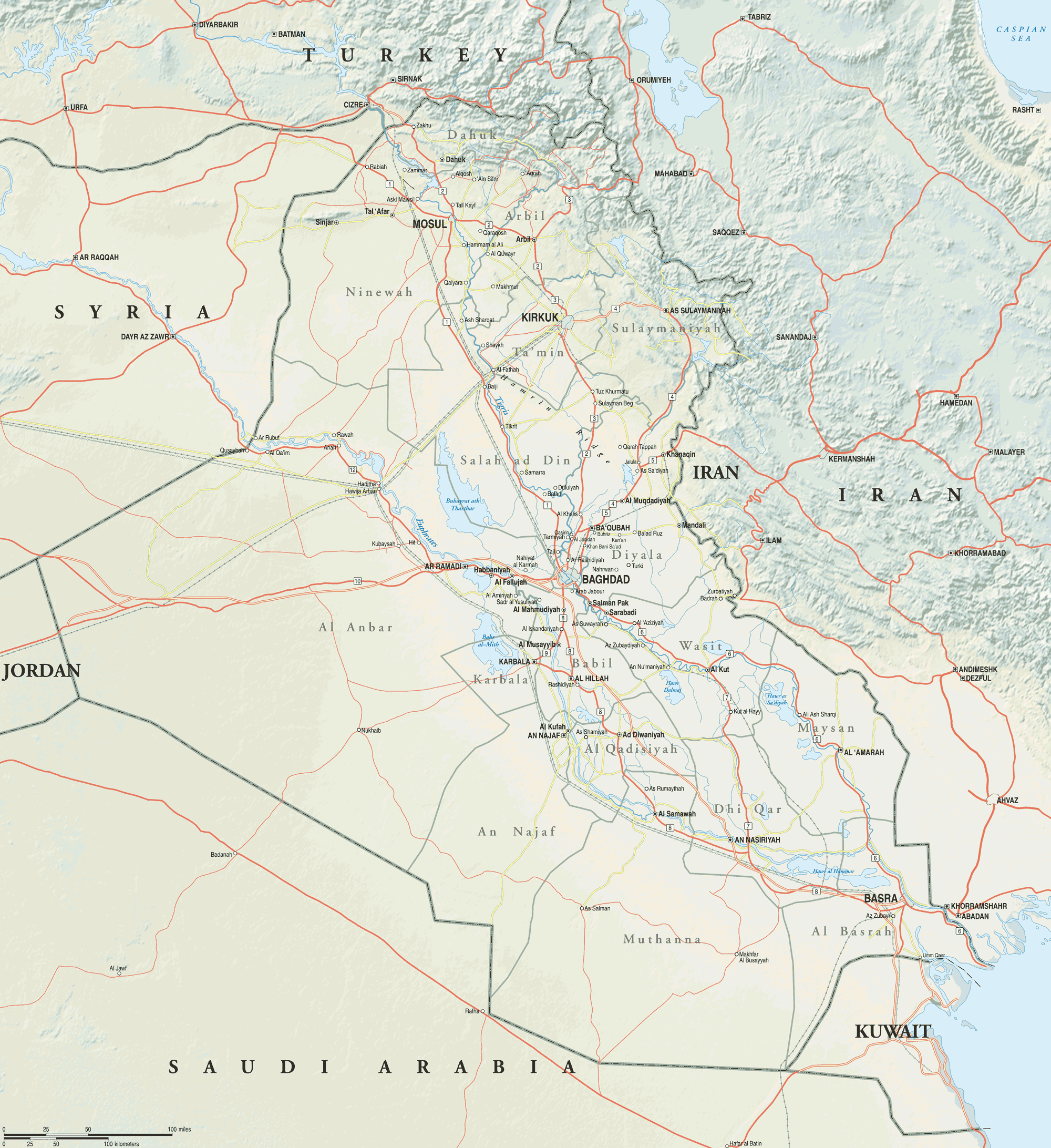 Map Of Iraq And Its Neighbors