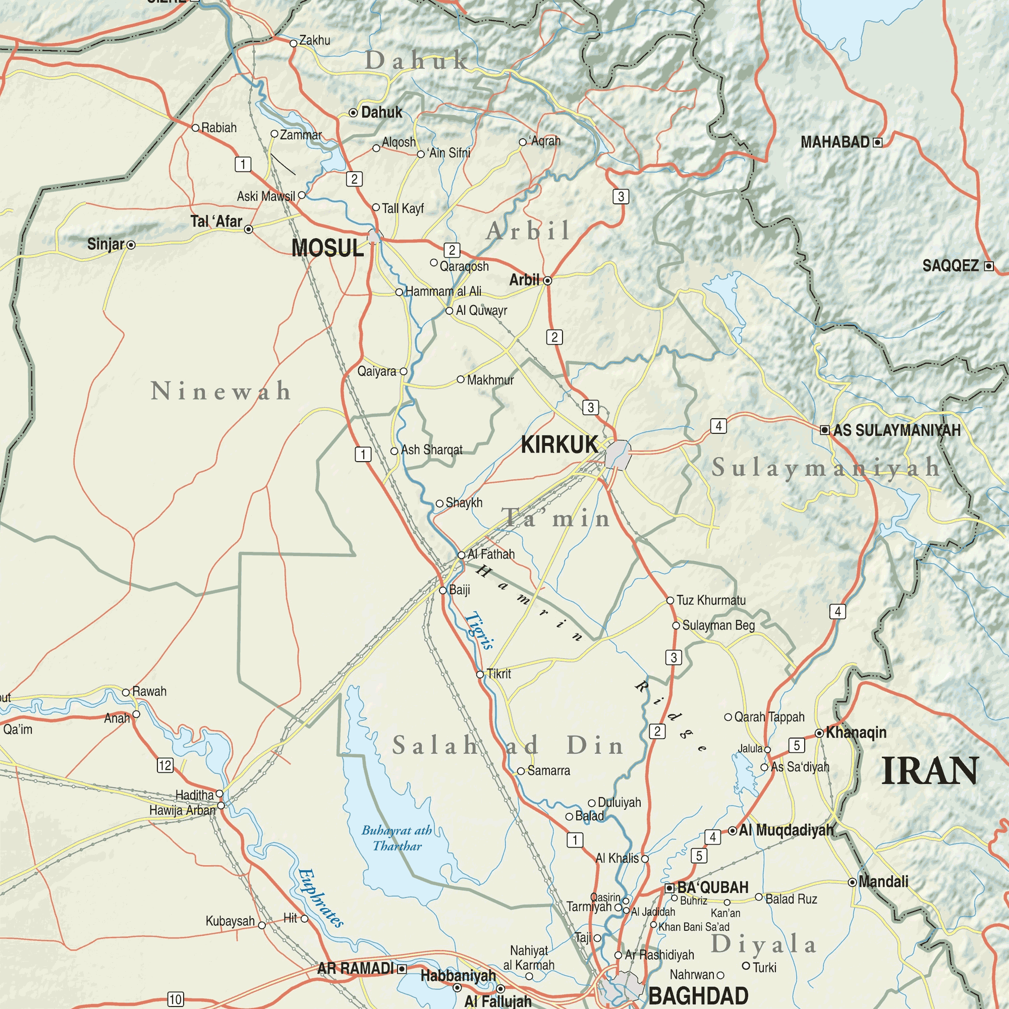 Map Of Northern Iraq large map