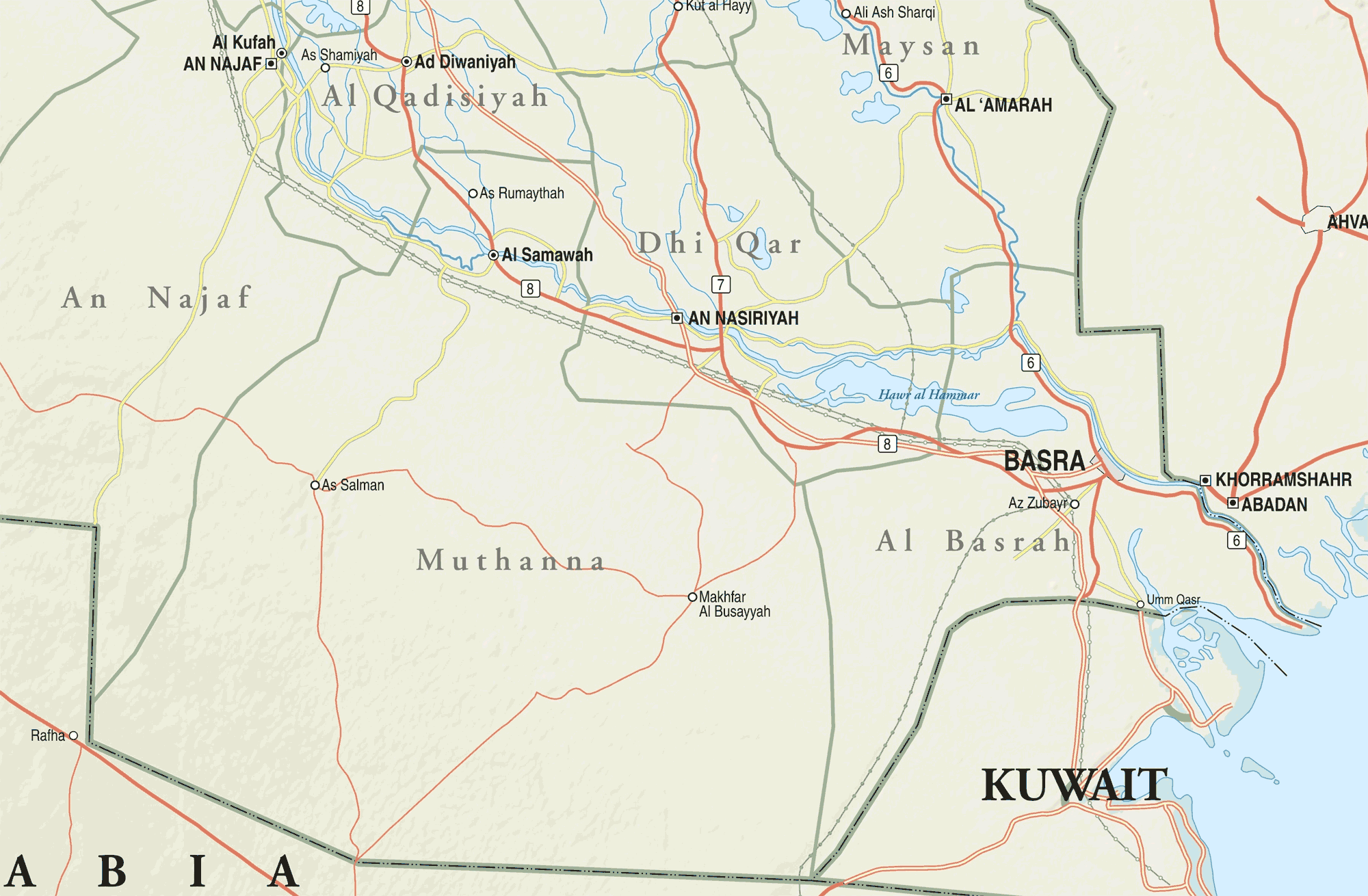 Map Of Southern Iraq large map
