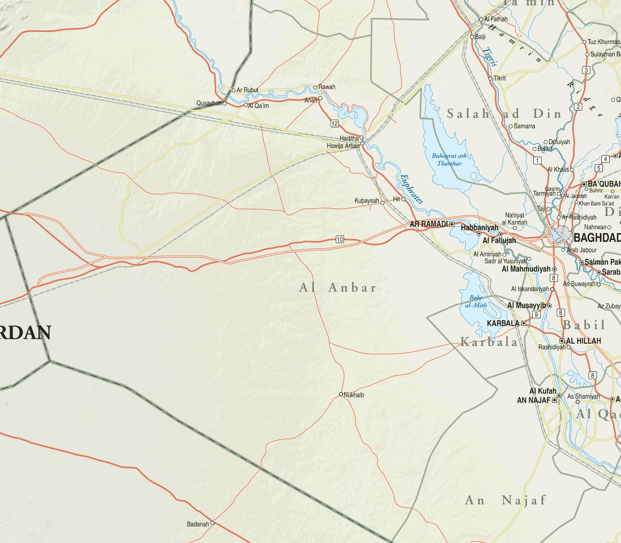 Map Of Western Iraq large map