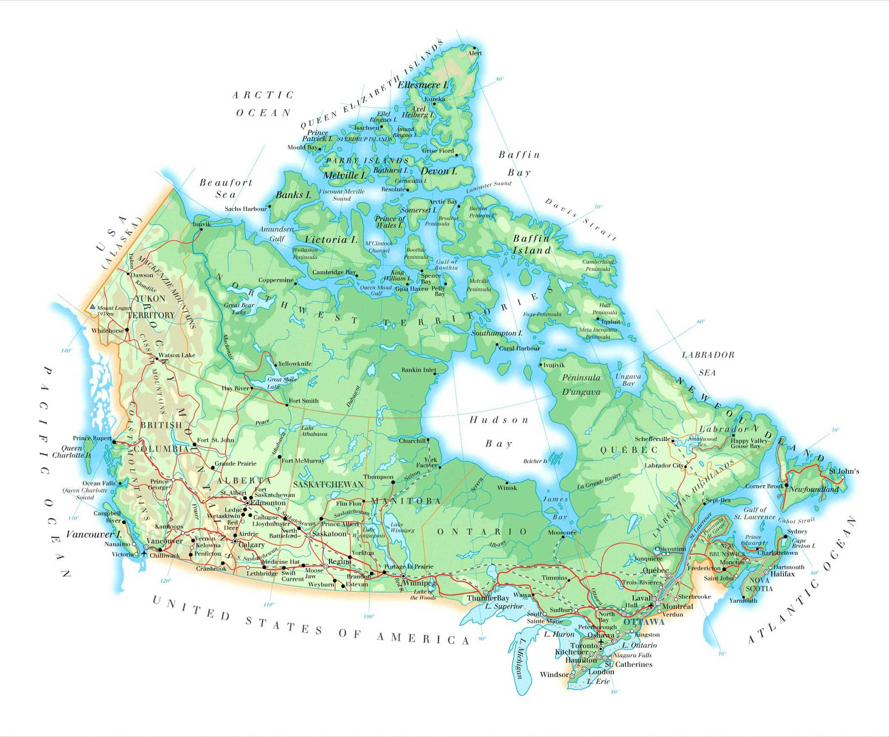Map Canada Physical 2