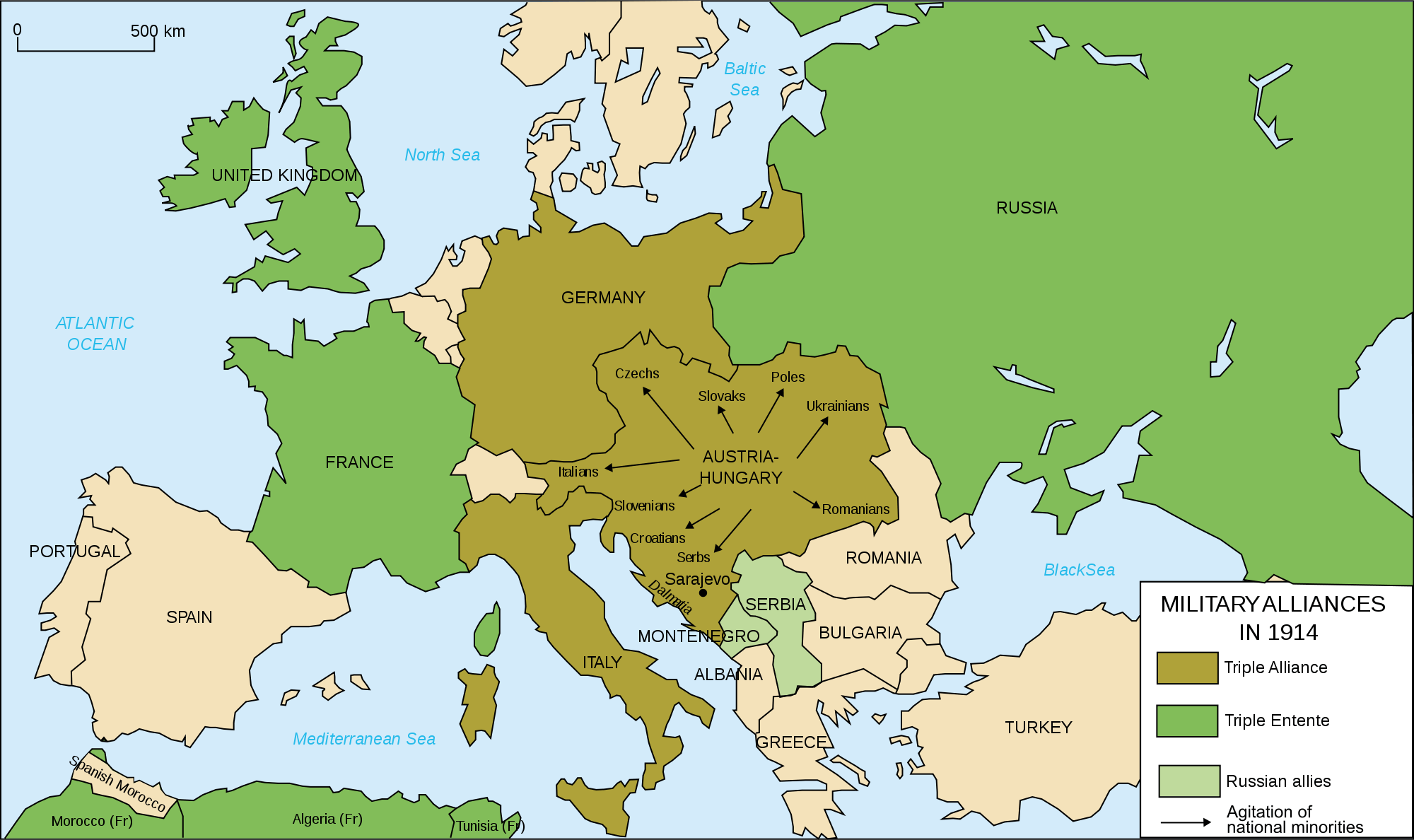 Map Europe Alliances 1914