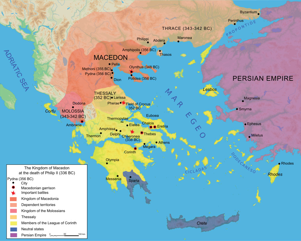 Map Macedonia 336 Bc large map
