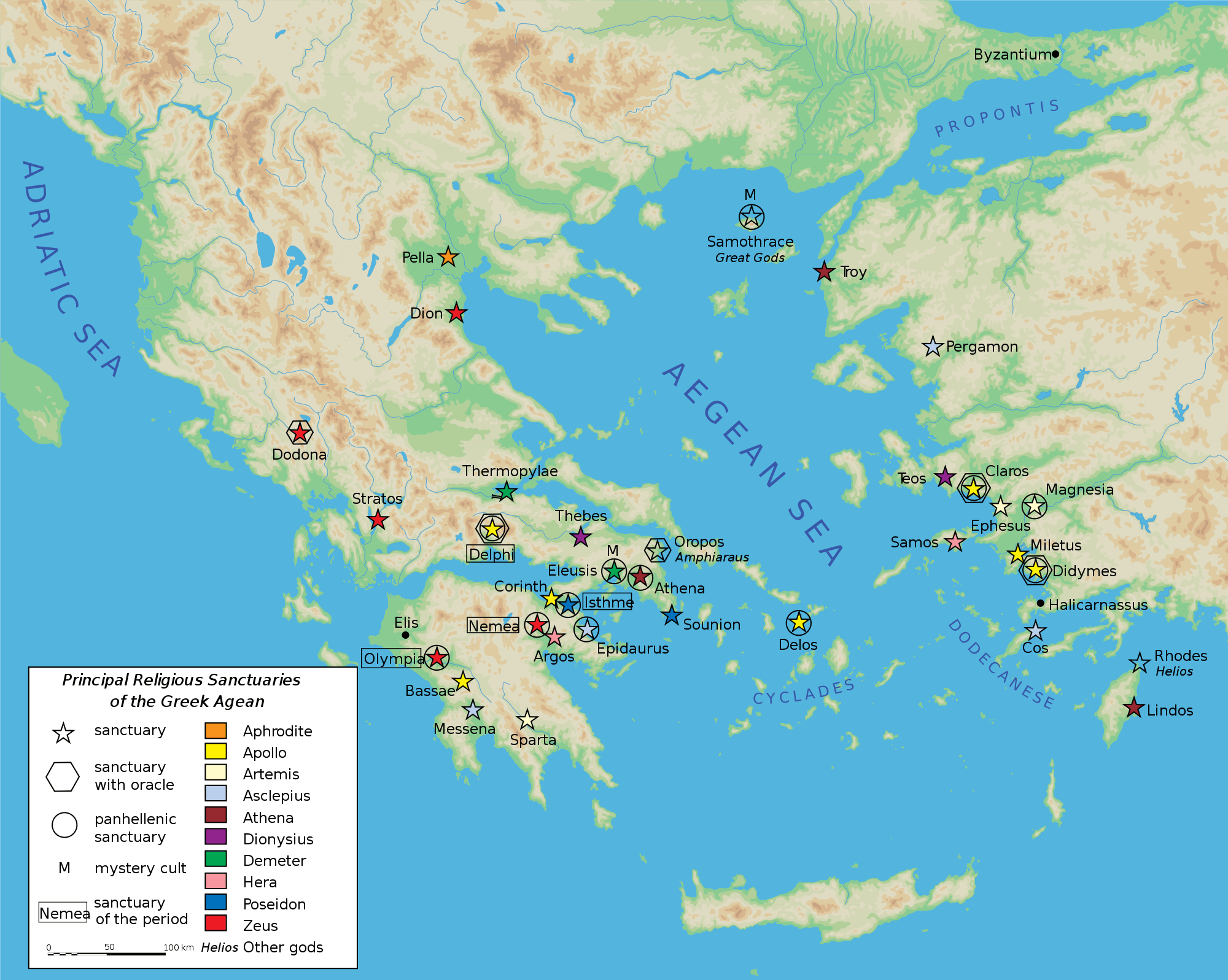 Map Greek Sanctuaries • Mapsof.net