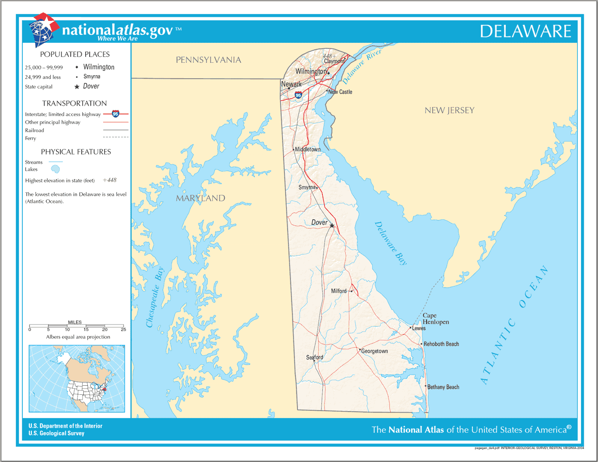 Map of Delaware Na 1 large map