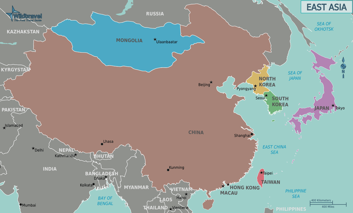 Map of East Asia • Mapsof.net