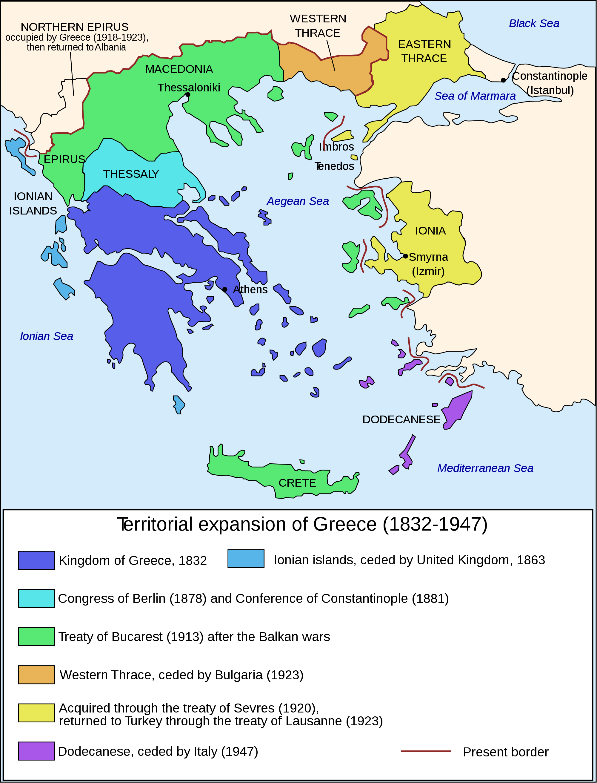 Map of Greece Expansion 1832 1947 large map