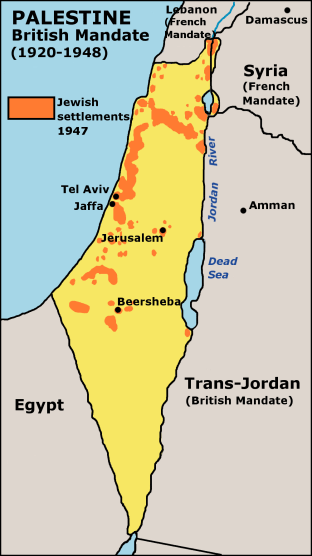 Map of Jewish Settlements In Palestine In 1947 large map