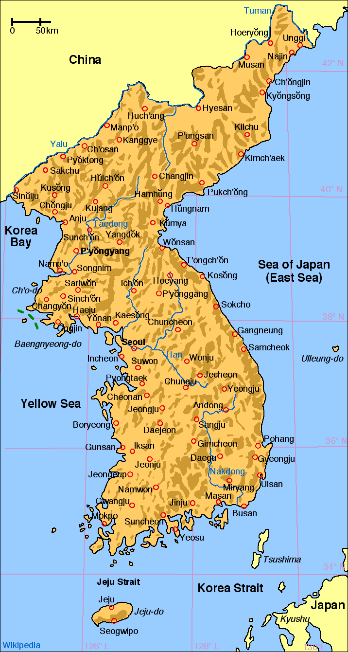 Map of Korea large map