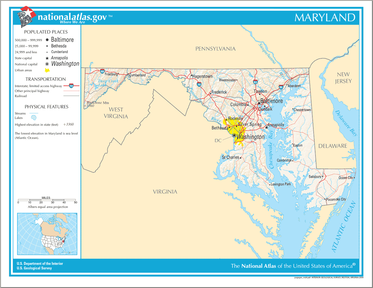 Map of Maryland Na 1 large map