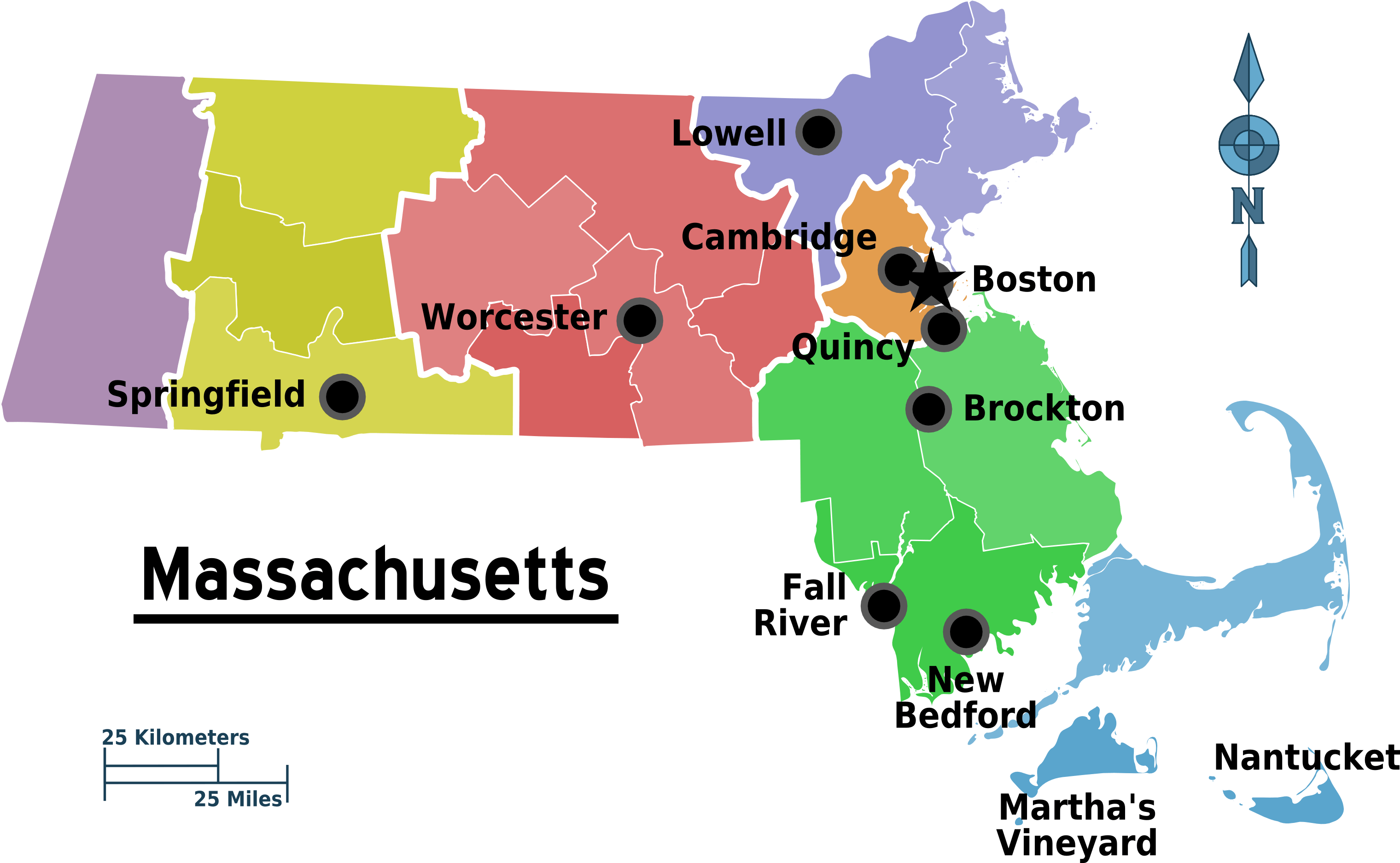 Map Of Massachusetts Regions Mapsofnet - Massachusetts physical map