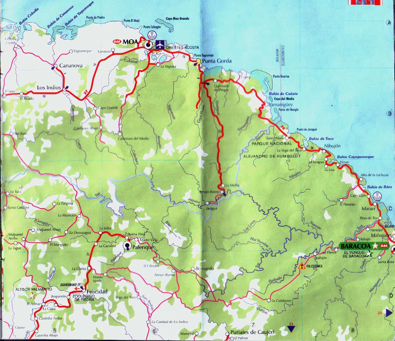 Map of Moa Baracoa large map