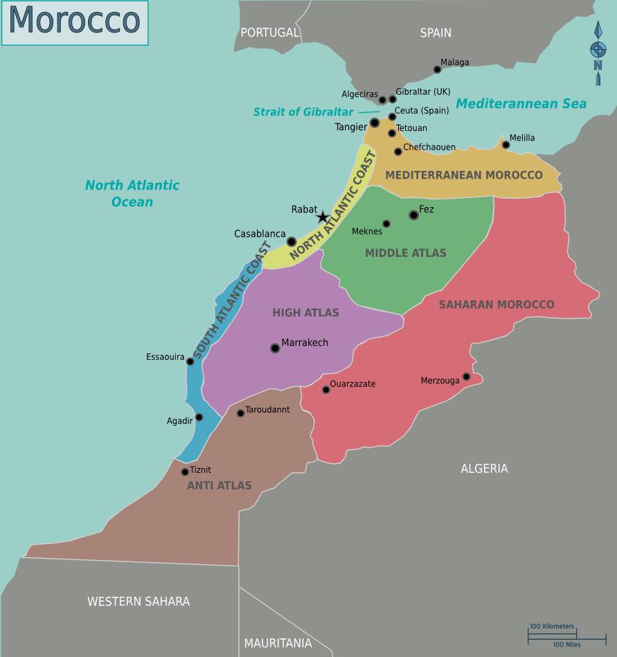 Map of Morocco Mapsofnet