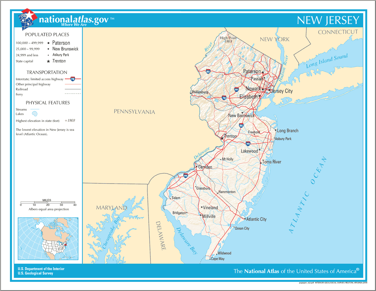 Map of New Jersey Na 1 large map