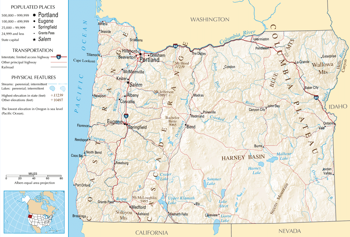 Map Of Oregon Na  Mapsof