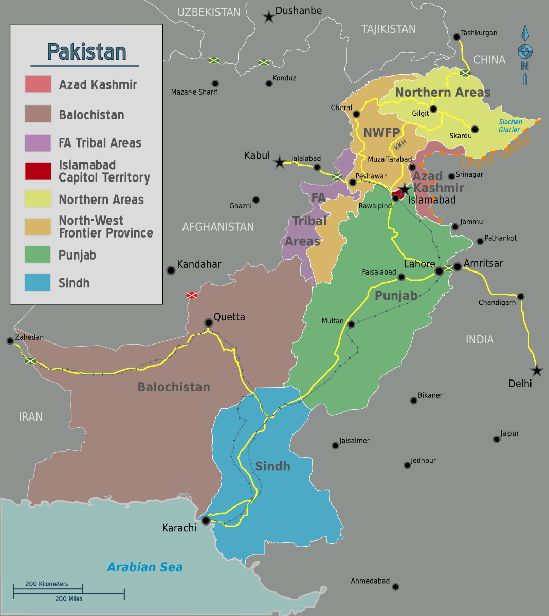 Map of Pakistan large map