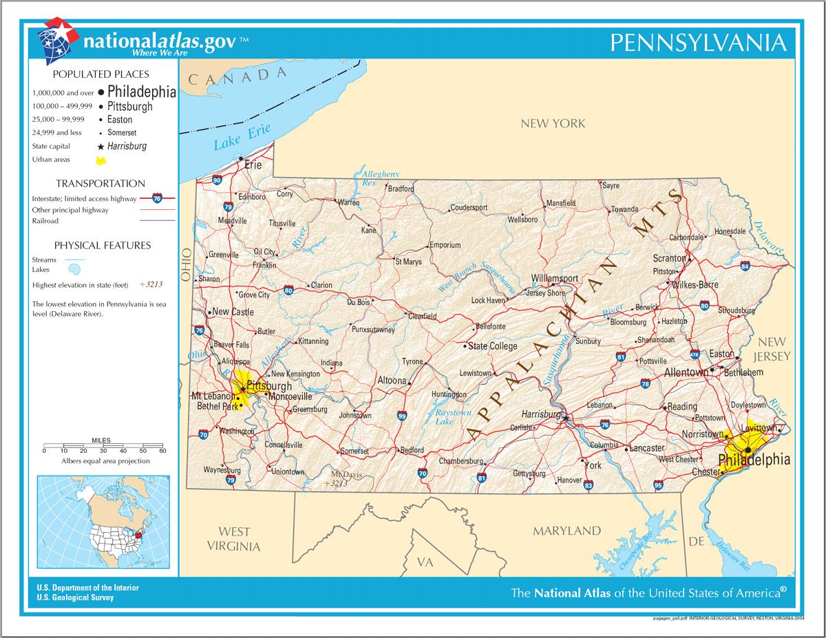 Map Of Pennsylvania Na Mapsofnet - Map of pennsylvania