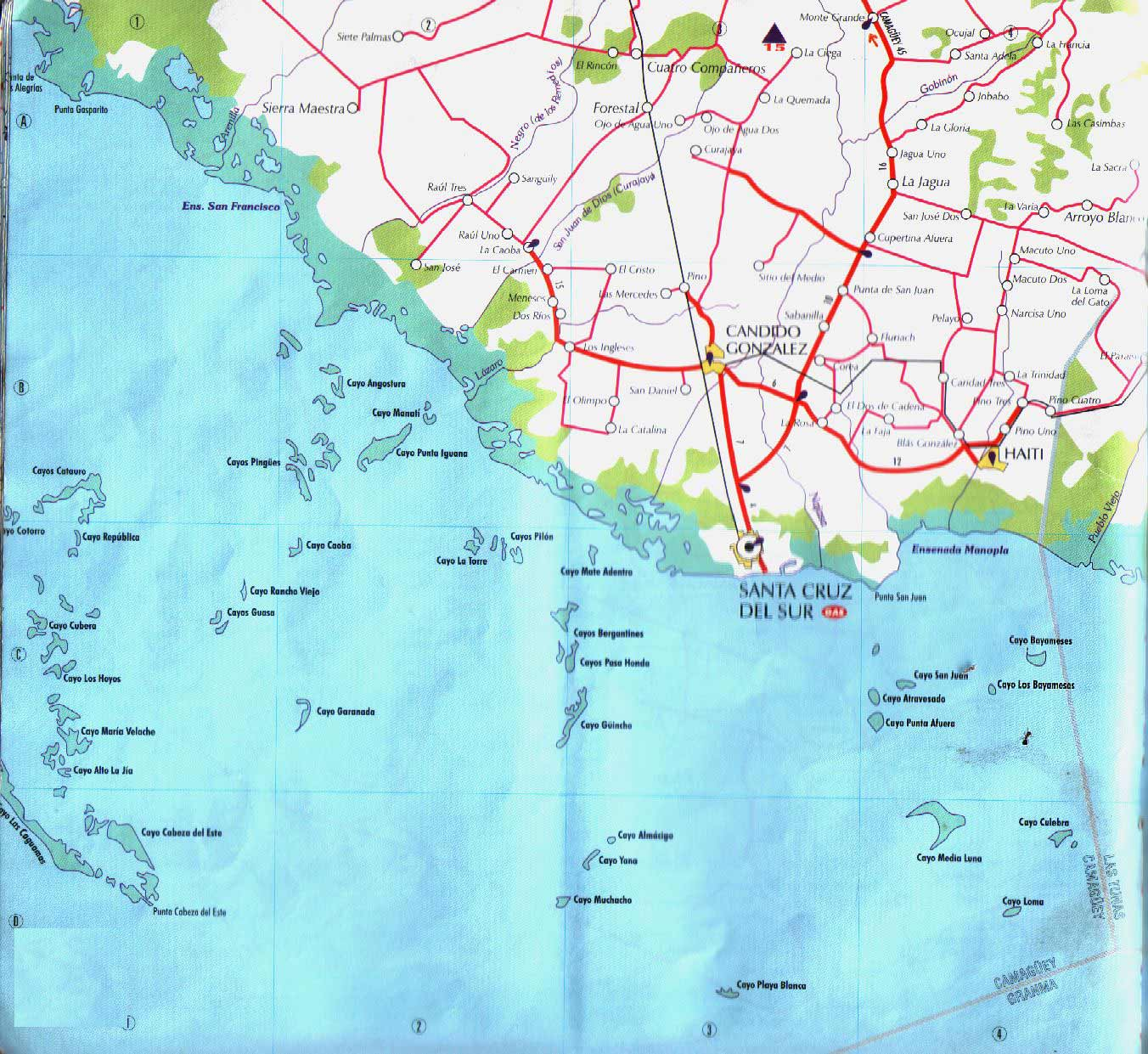 Map of Santa Cruz Del Sur Candido Gonzalez large map