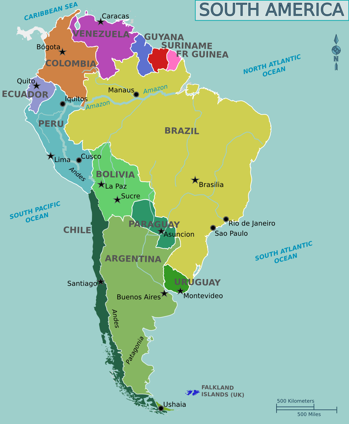 Map of South America large map