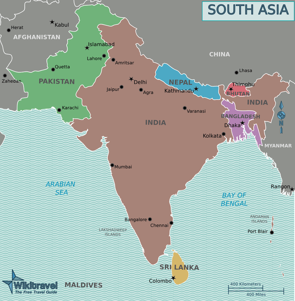 Map of South Asia large map