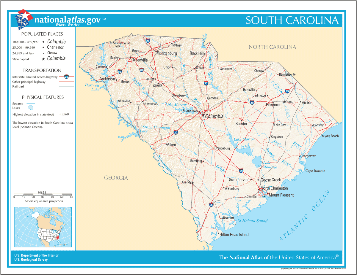 Maps Us Map South Carolina