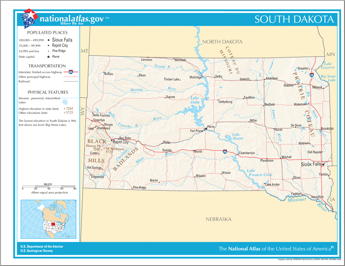 Map of South Dakota Na 1 large map