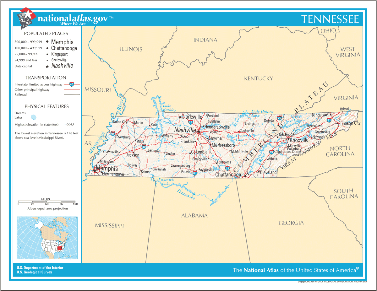 Map Of Tennessee Na  Mapsofnet - Us state map large