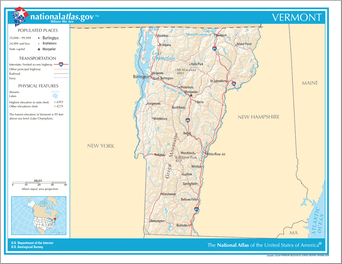 Map of Vermont Na 1 large map