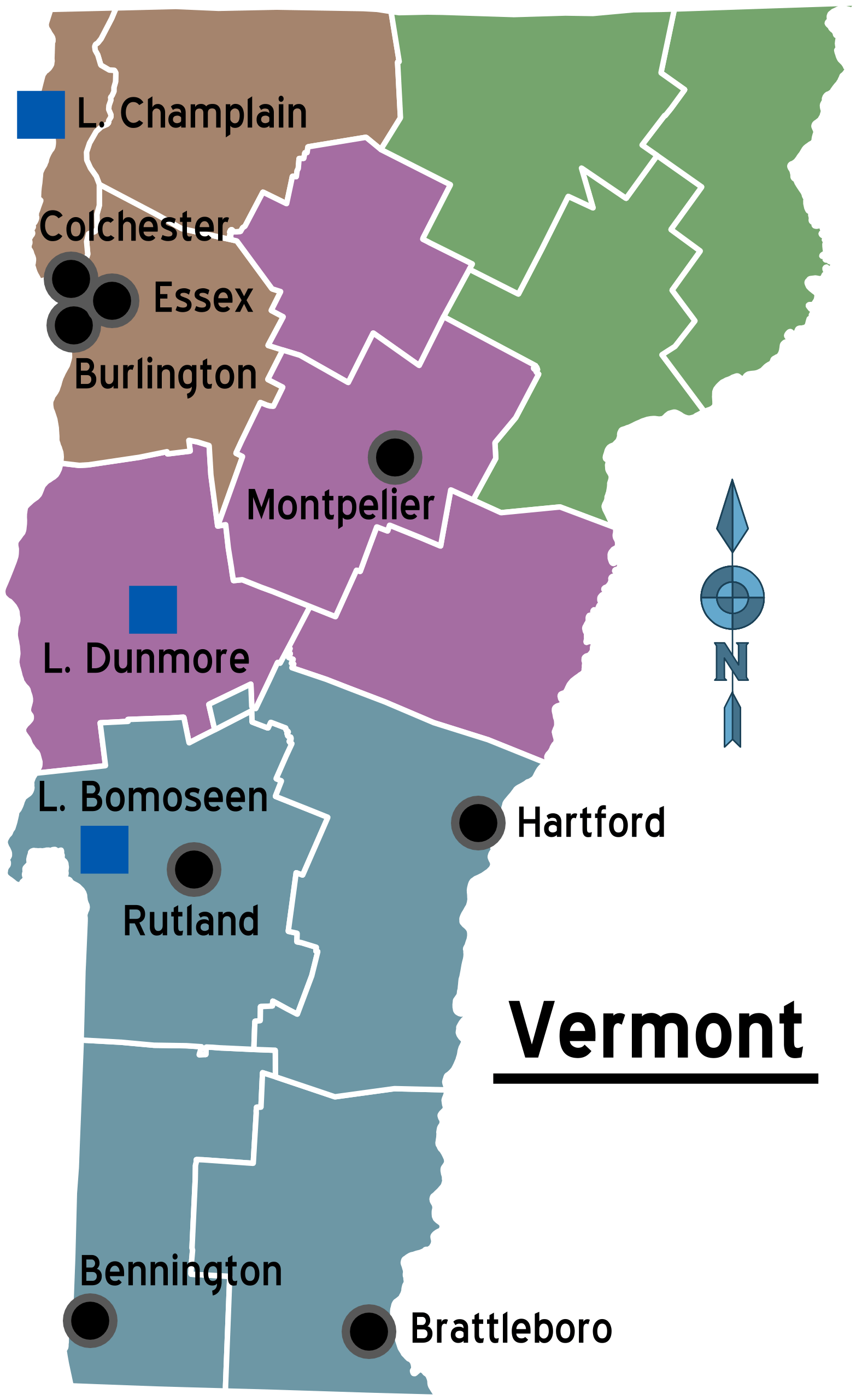 Map of Vermont Regions large map