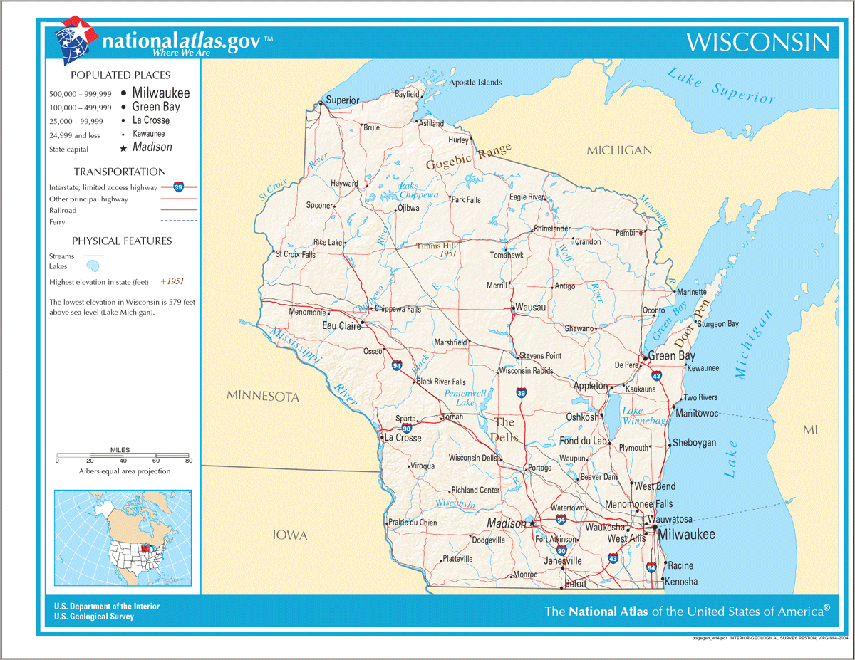 Map Of Wisconsin Na 1 Mapsof Net