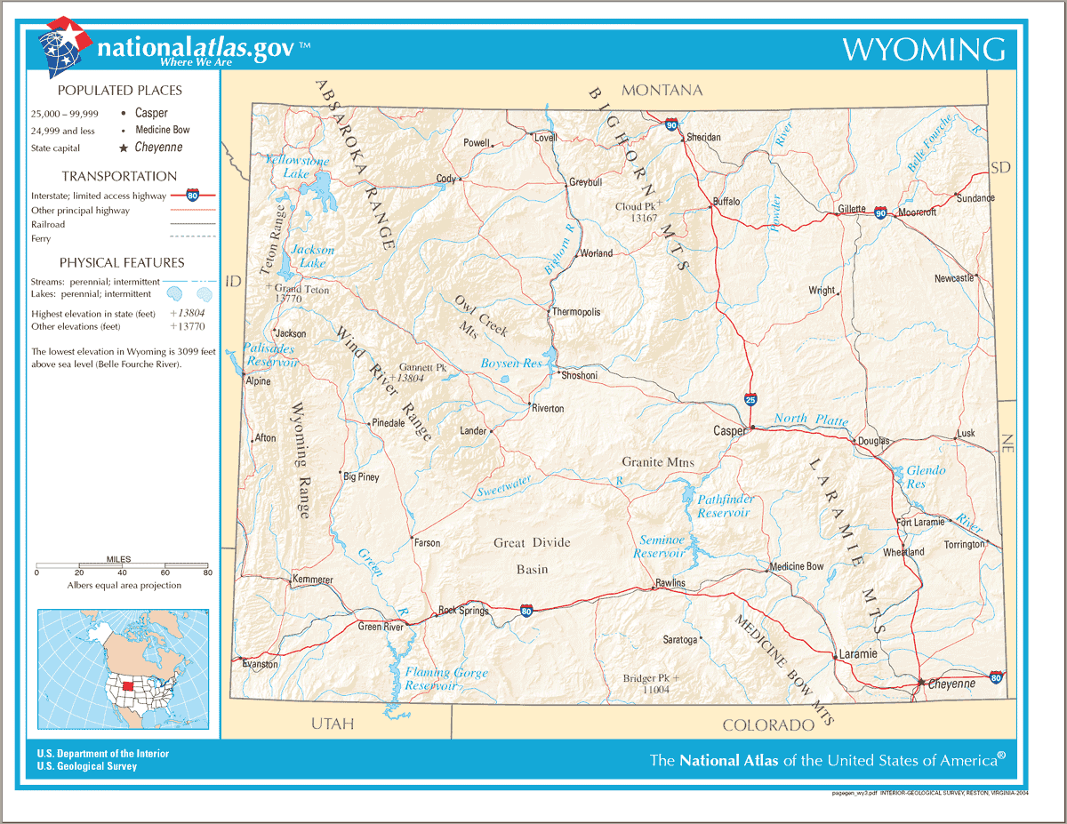 Map of Wyoming Na 1 large map