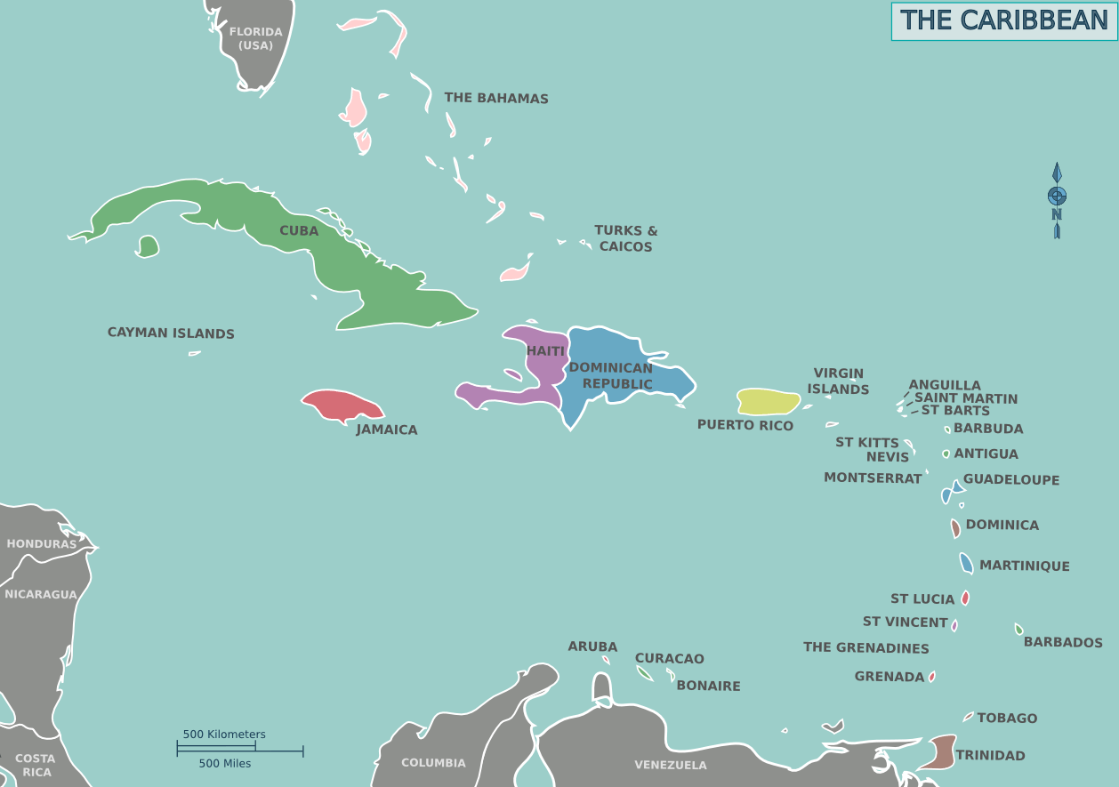 Map of the Caribbean Mapsofnet