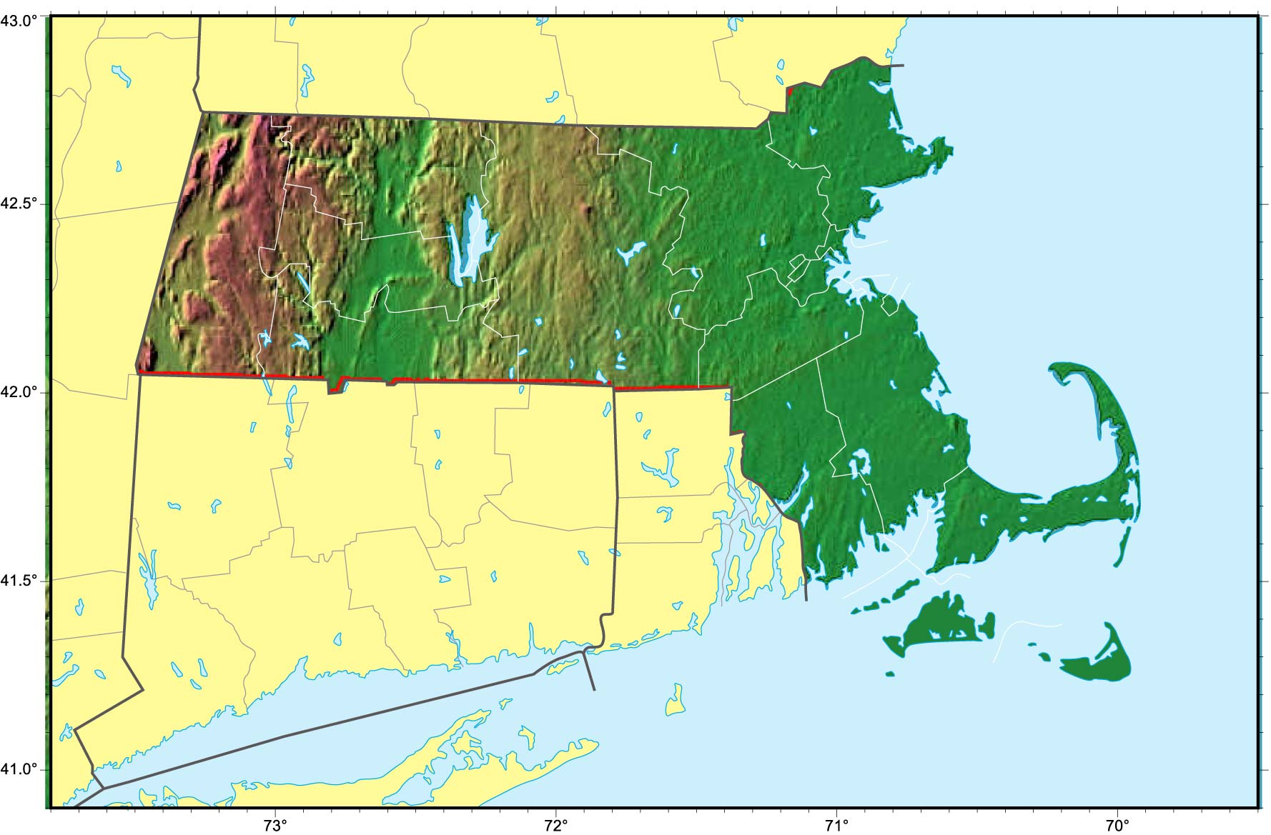 Massachusetts Relief Map large map