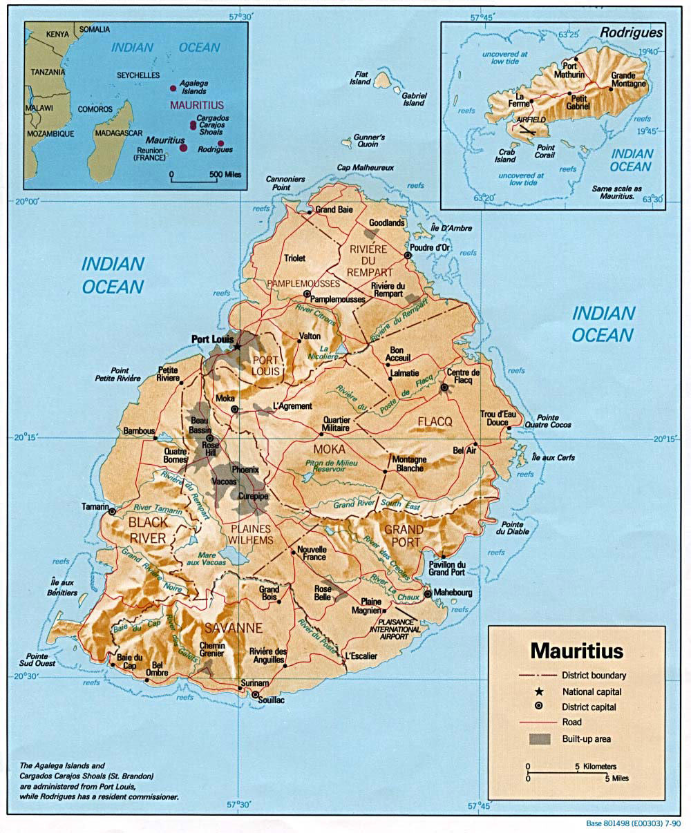 Mauritius Map Relief large map