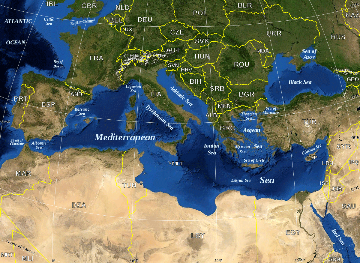 Mediterranean Sea Political Satellite Map large map