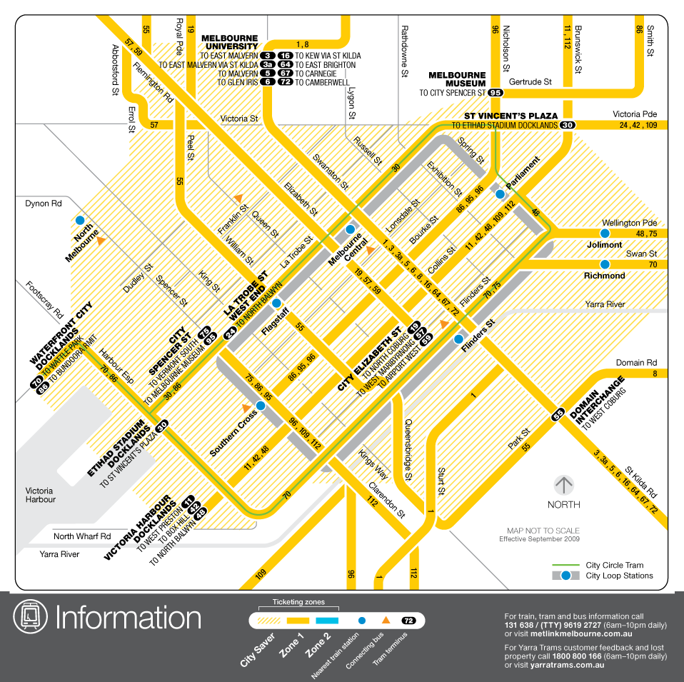 Melbourne Downtown Tram Map (city Center) large map