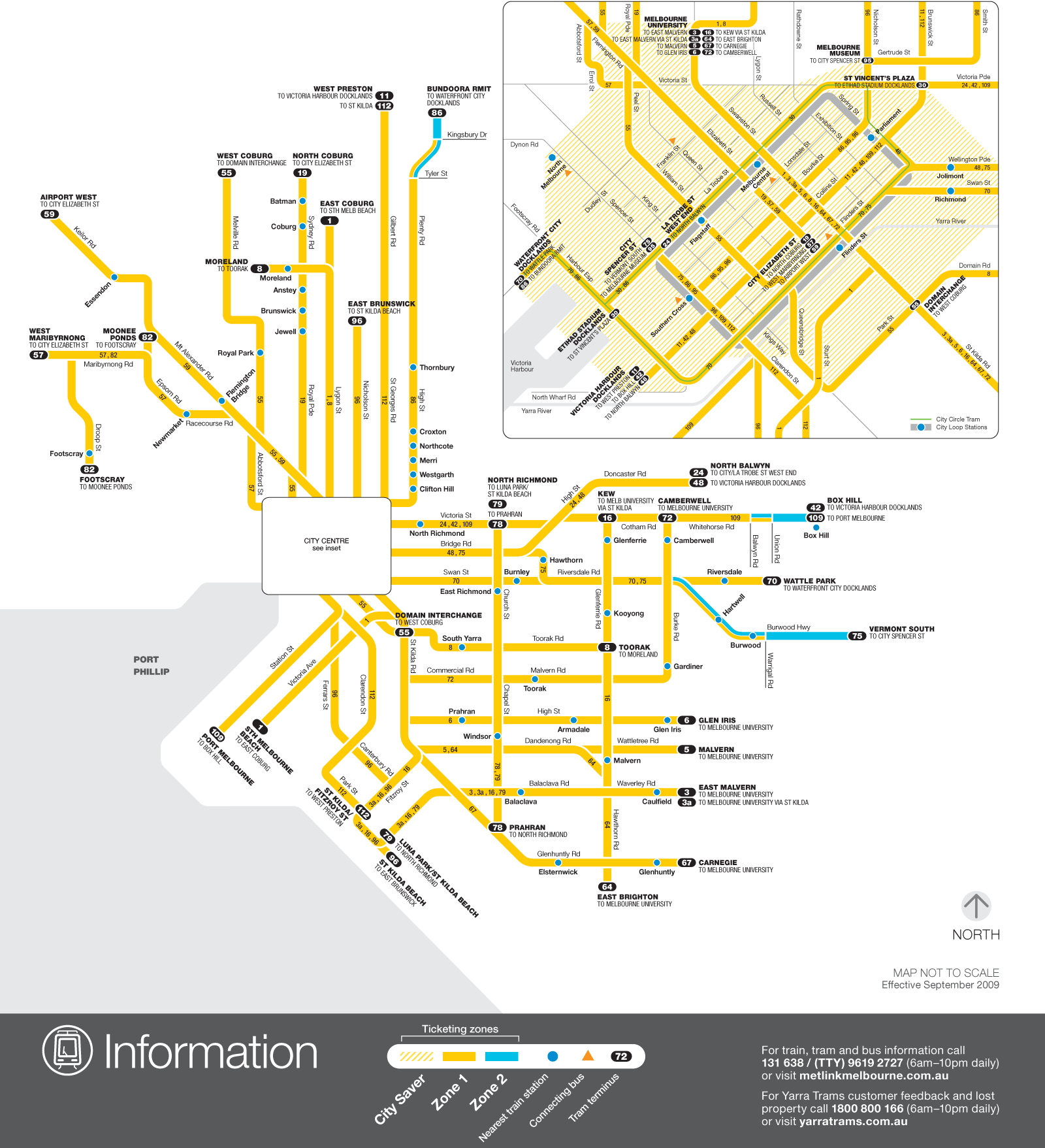 Melbourne Tram Map (light Rail) large map