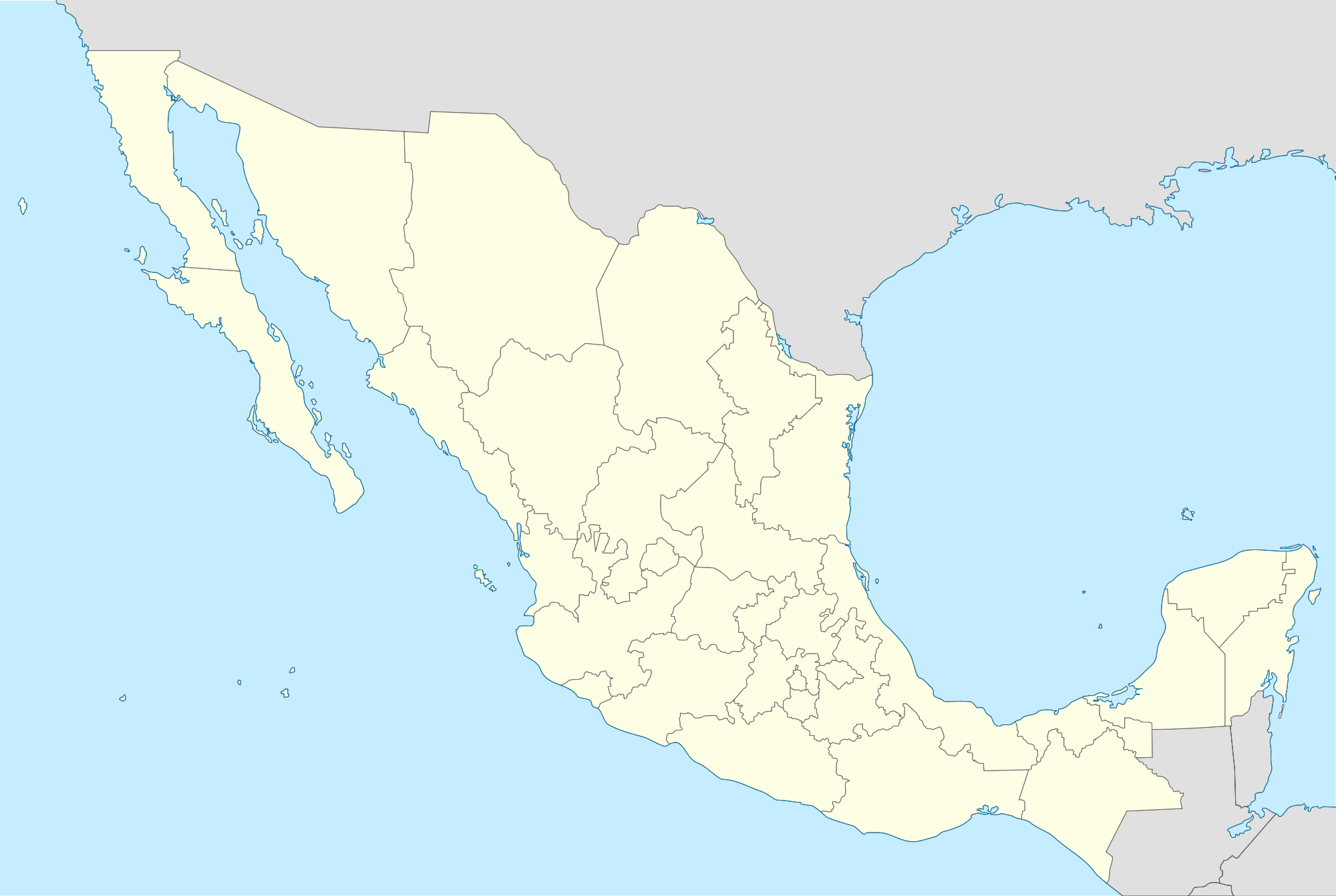 Mexico States Blank Map Mapsofnet - Maps mexico