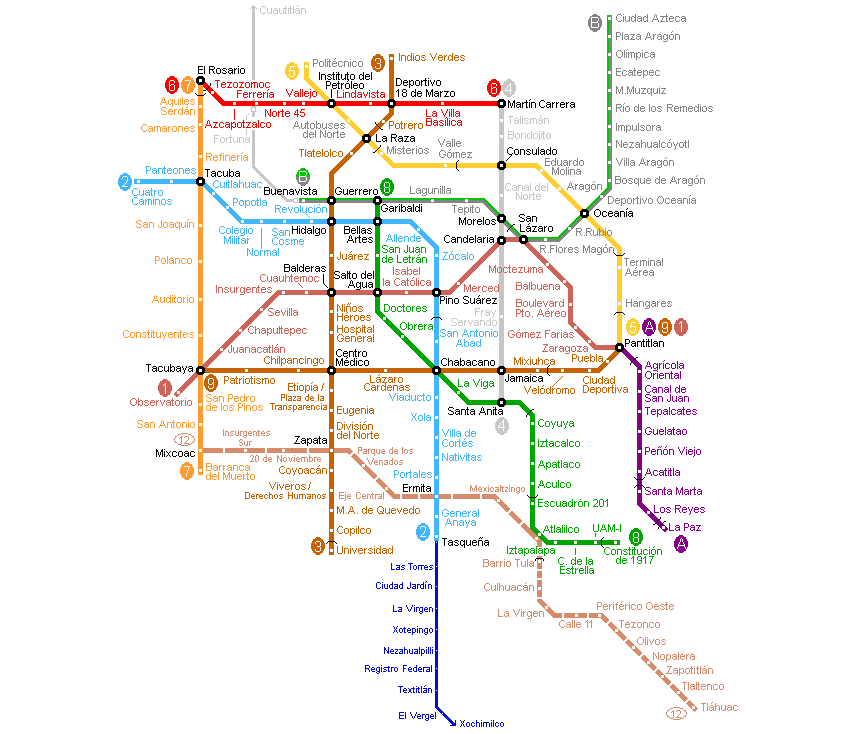Mexico Metro Map large map