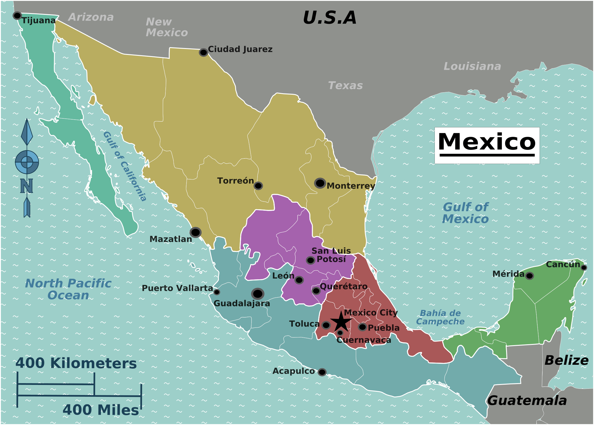 Mexico Regions Map large map
