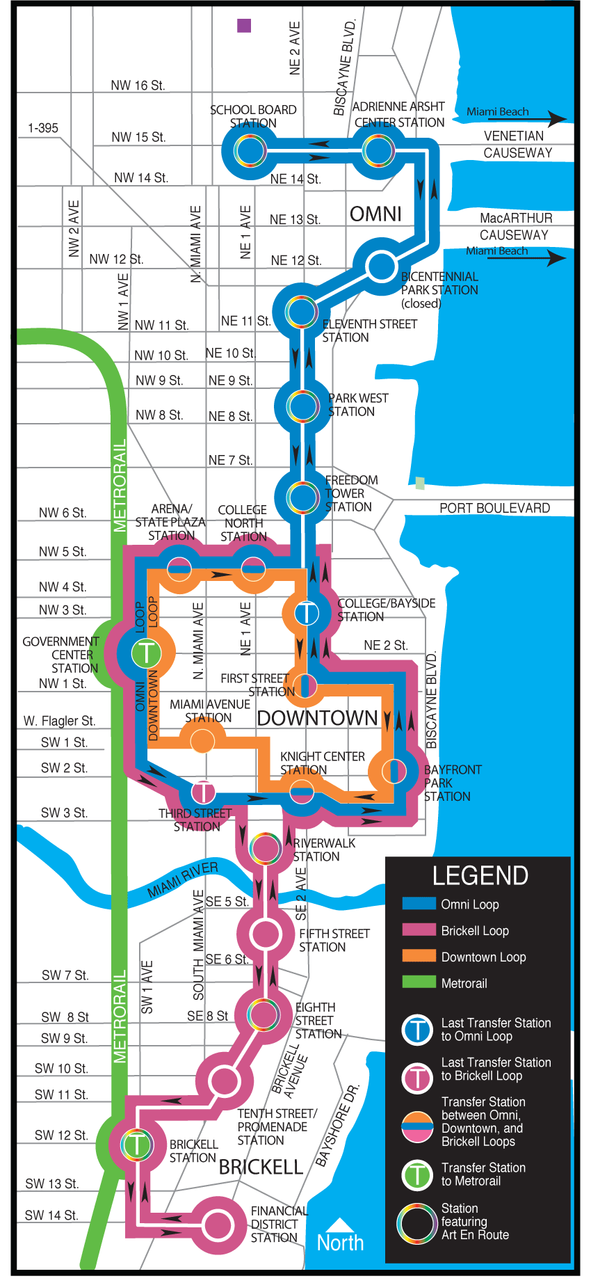 Miami Metromover Map large map