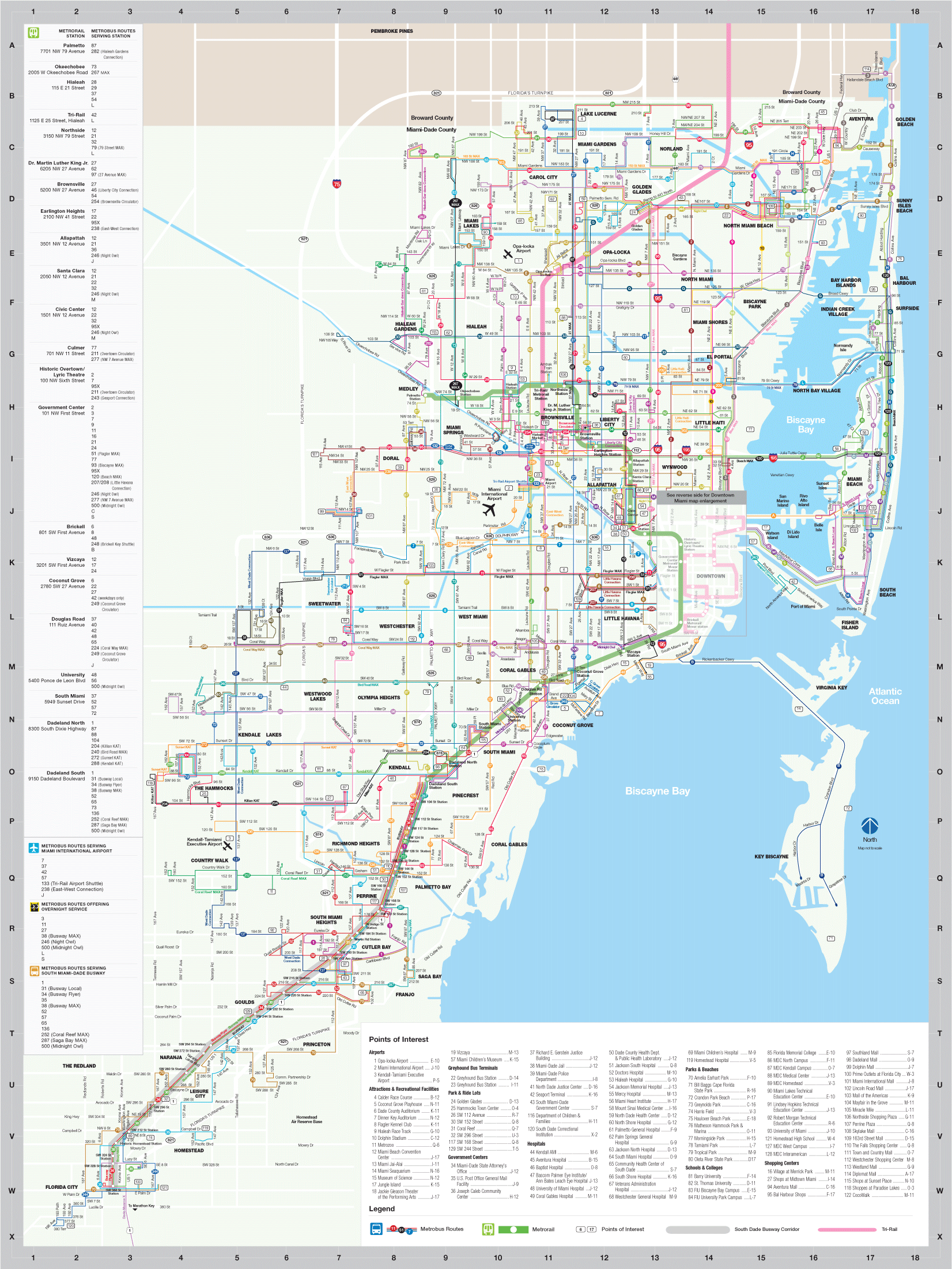 Miami Transport Map (include Metrobus) large map