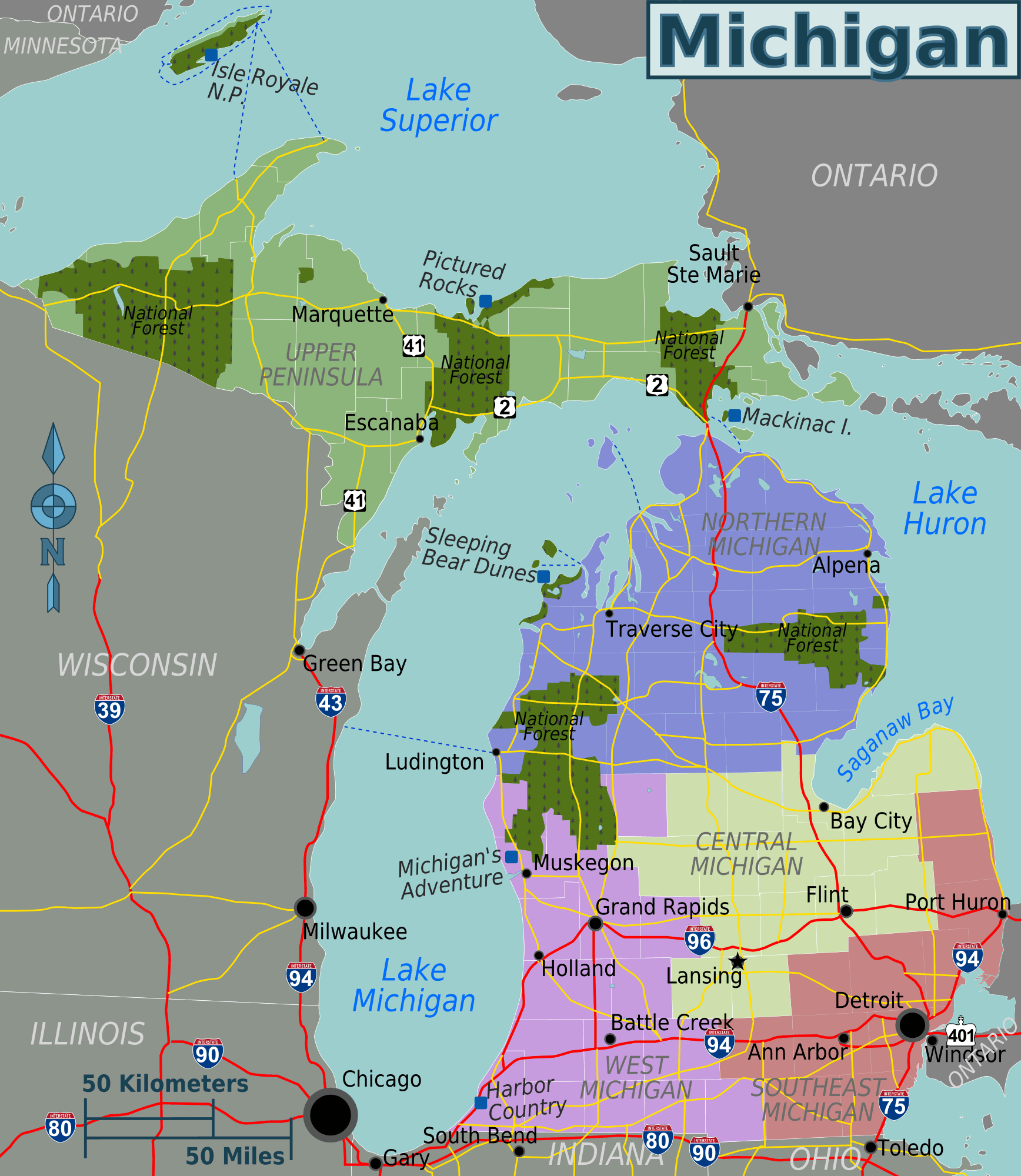 Michigan Regions Map • Mapsof.net