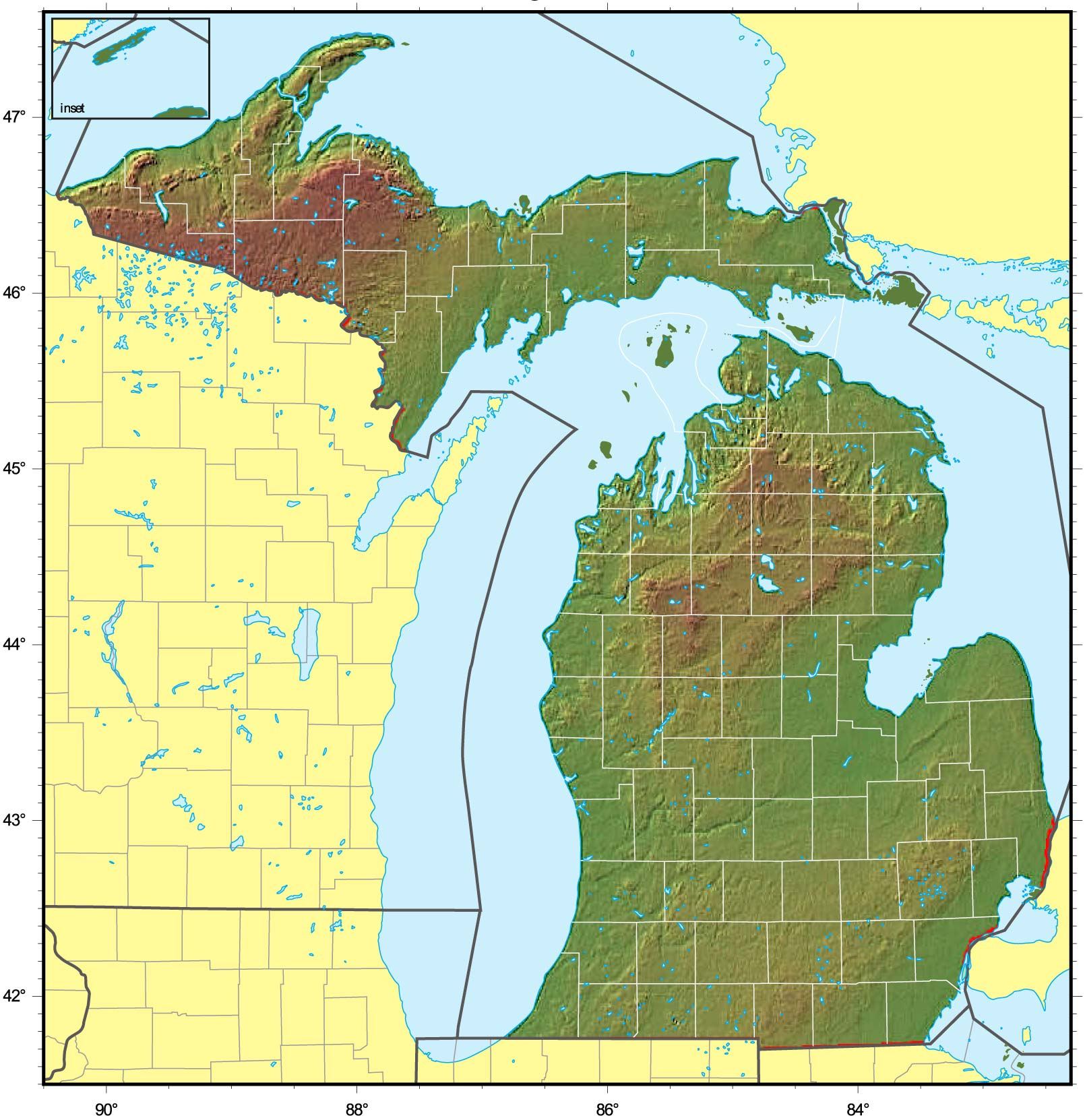 Michigan Relief Map large map
