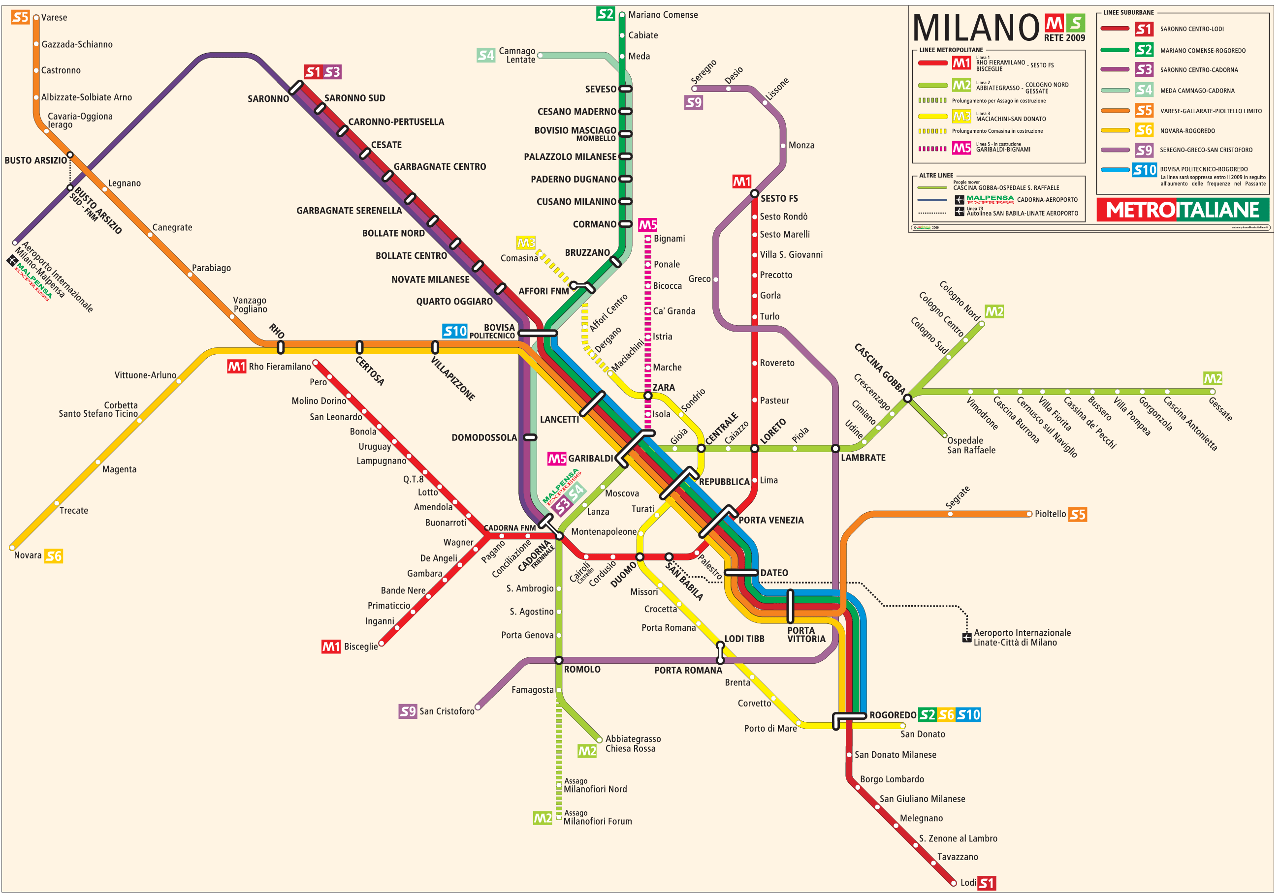 Milan Metro Map large map
