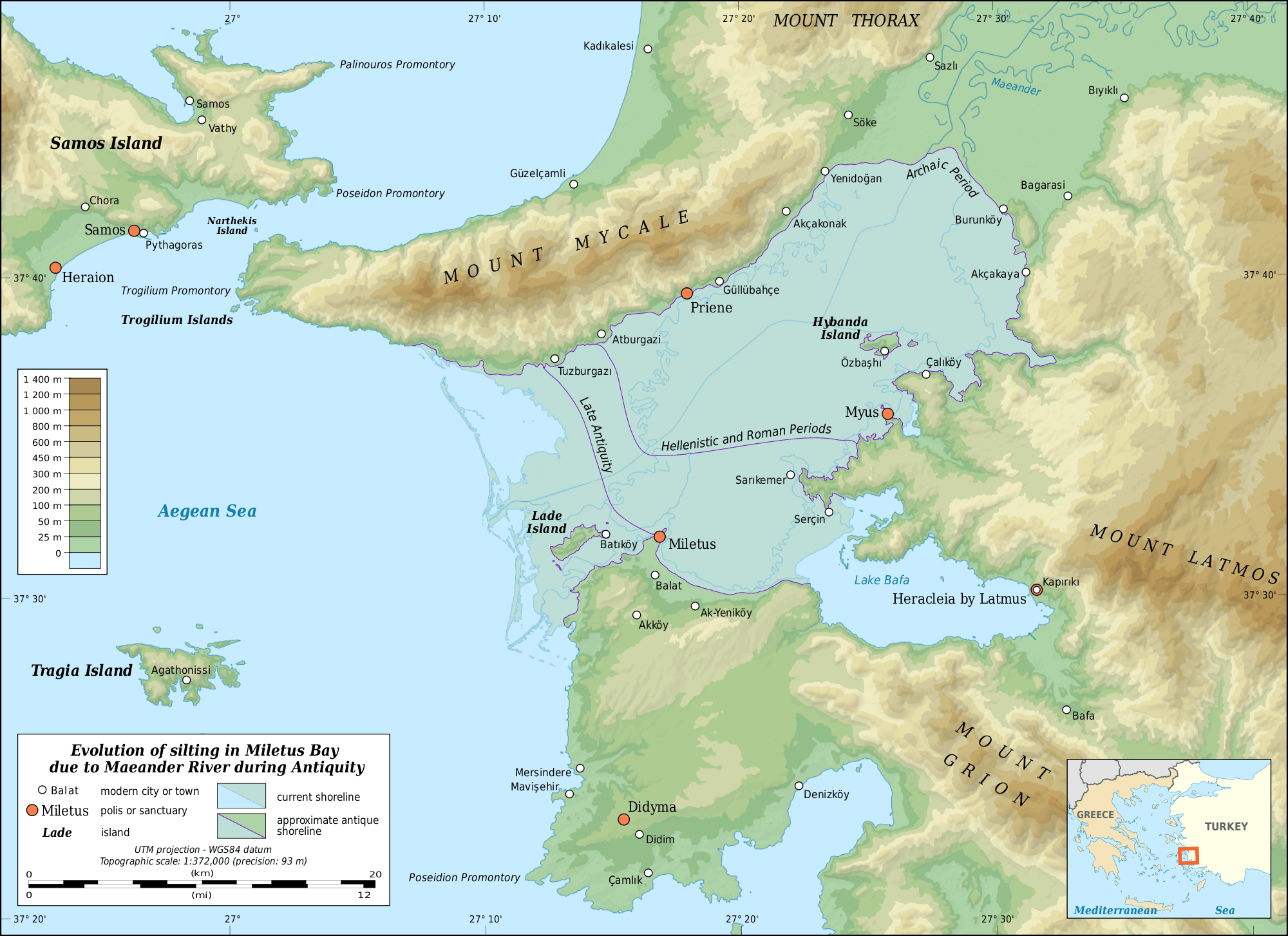 Miletus Bay Silting Evolution Map large map