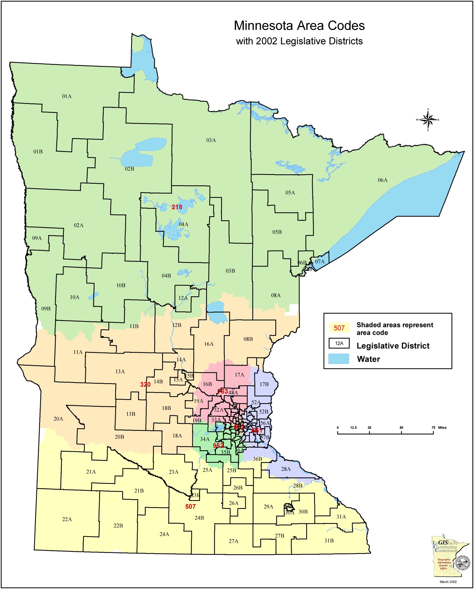 Minnesota Area Code Map  Mapsof